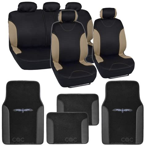Personalized Seat Covers And Floor Mats by 13pc Seat Covers Floor Mats For Car Black Beige W Vinyl