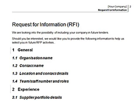 rfi response template website design tender commission template
