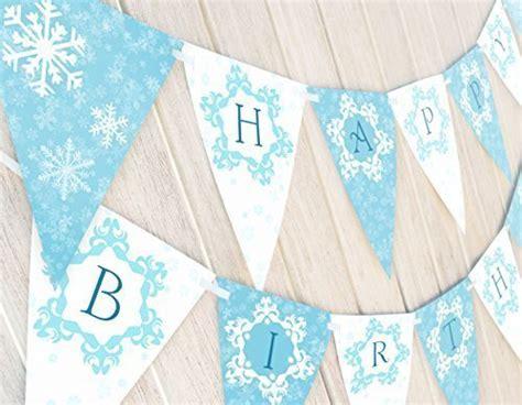 free printable snowflake birthday banner frozen party banner birthday girls wikii