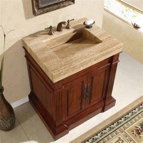 33 Inch Bathroom Vanity Cabinet by Silkroad Exclusive Travertine Top 33 Inch Single Sink