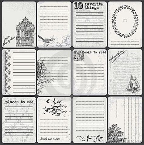 scrapbook journaling templates vintage feel printables graphics