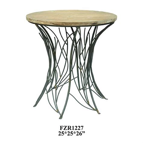 nature metal branch base weathered wood  accent table