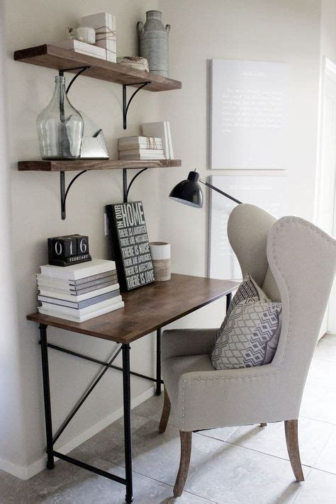 Home Decorating Ideas Small Home Office Desk In Rustic Industrial Glam Style Wingback Chair Simple Wood And Metal Frame Desk Wood Shelves With Black
