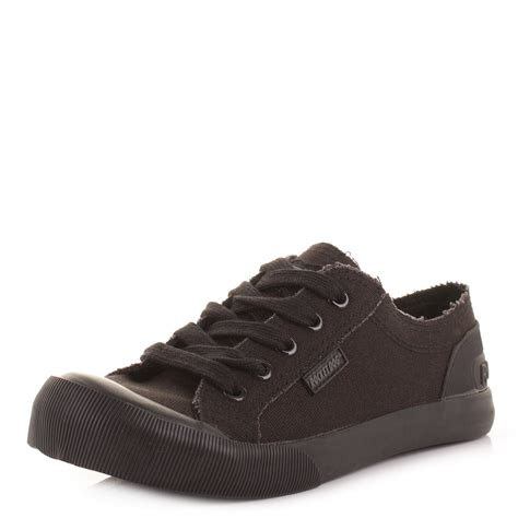 all black dogs womens rocket jazzin canvas all black trainers plimsolls shoes size ebay