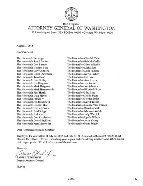 Response Letter To Investigation Attorney General Responds To Request For Planned Parenthood Investigation Family Policy