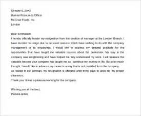 standard resignation letter template 15 resignation letters free sle exle format