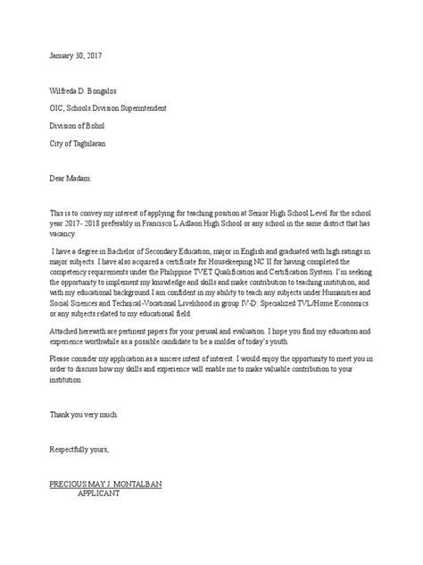 Letter Of Intent Sle For Teachers letter of intent for 1 senior high school applicant