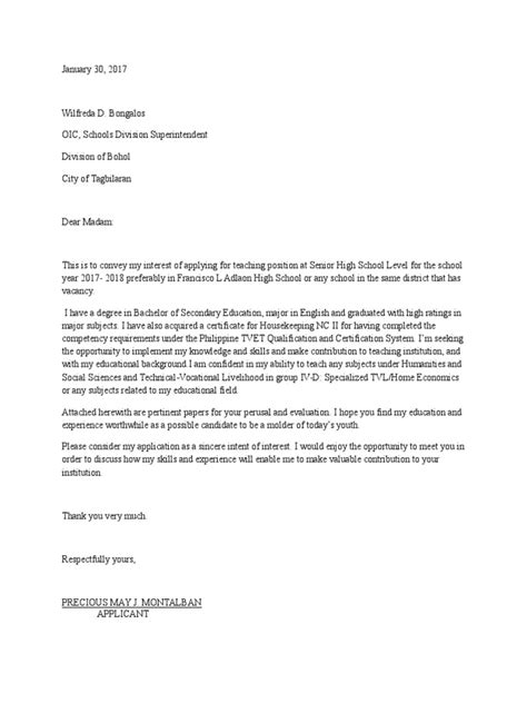 letter intent teacher senior high school applicant