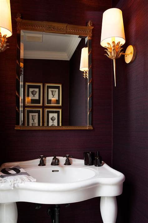 the bronze room aubergine powder room with worlds away gold leaf sconce transitional bathroom