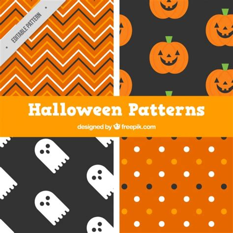 cute halloween pattern four cute halloween patterns vector free download