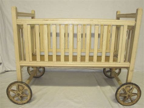 Vintage Wooden Doll Crib With Wheels Wood Cradle Playpen W Baby Crib Wheels