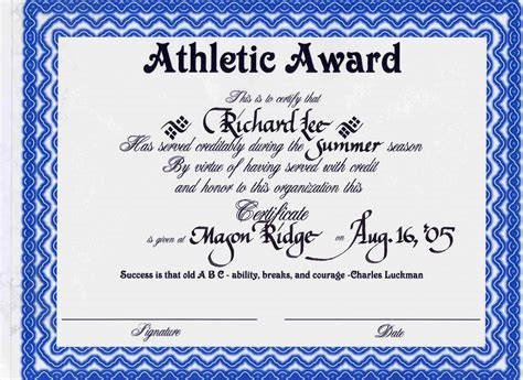 award certificate template free sle certificate in sports gallery certificate design