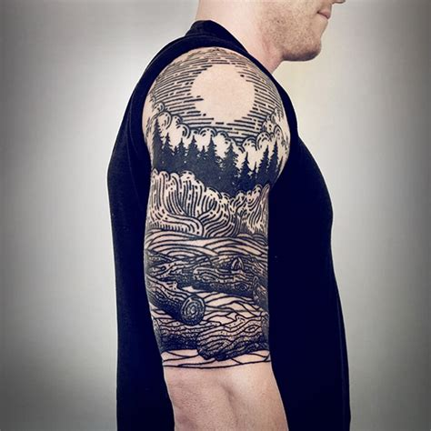 tattoo prices half sleeve tattoo artist s signature linework depicts mythical scenes