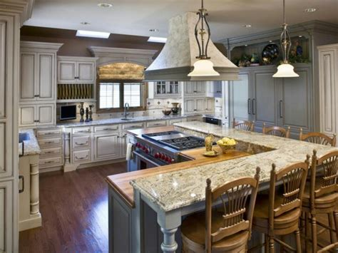 kitchen with l shaped island l shaped kitchen island with raised bar kitchen ideas