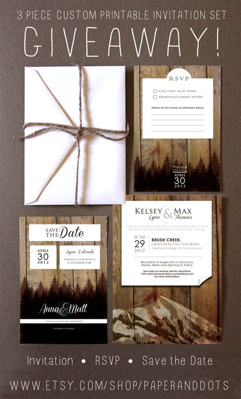 Wedding Invitation Giveaway - wedding invitation suite giveaway rustic wedding chic