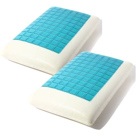 solid foam bed pillows 2pcs solid piece memory foam gel white bed pillows blue