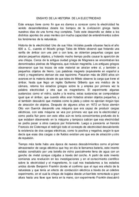 historia de roma ensayo historia ensayo de la historia de la elctricidad