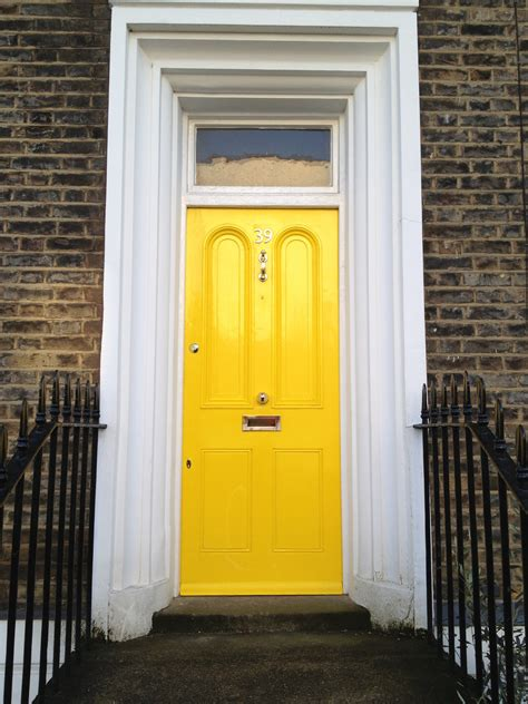 Yellow Front Door Blue Front Door Color For Brick House Mixed With Wreath Homes Showcase