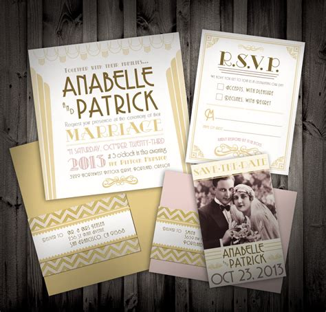 Wedding Invitations Great Gatsby by Great Gatsby Deco Themed Wedding Invitations And By