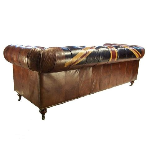 canap 233 3 places chesterfield cuir marron vintage drapeau