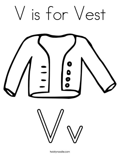 V Is For Coloring Page by V Is For Vest Coloring Page Twisty Noodle
