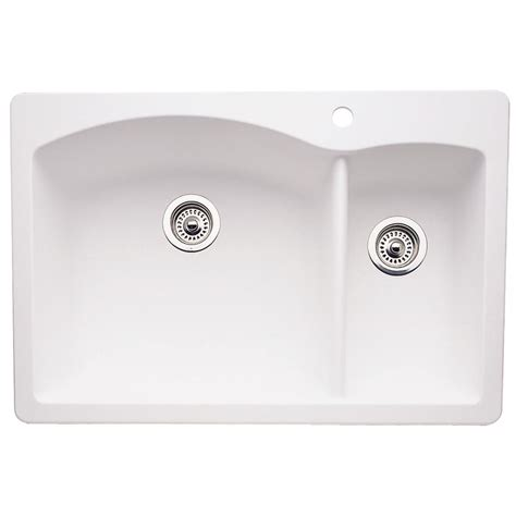 Kitchen Sink Blanco Blanco Dual Mount Composite 33 In 1 Bowl Kitchen Sink In White 440200 The
