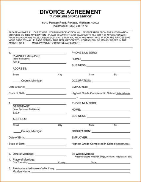 5 divorce papers michigan   Divorce Document