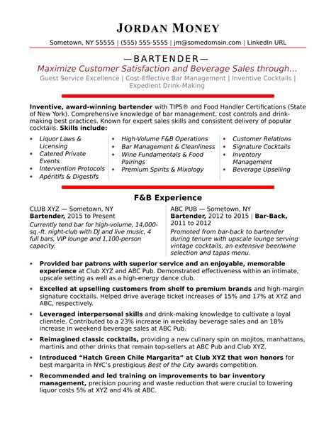 Exle Of Bartender Resume by Bartender Resume Sle