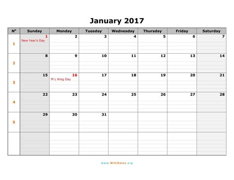 2017 Printable Monthly Calendar Template