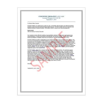 Emotional Support Animal Letter From Doctor Emotional Support Animal Therapist Letter For Airlines And Housing