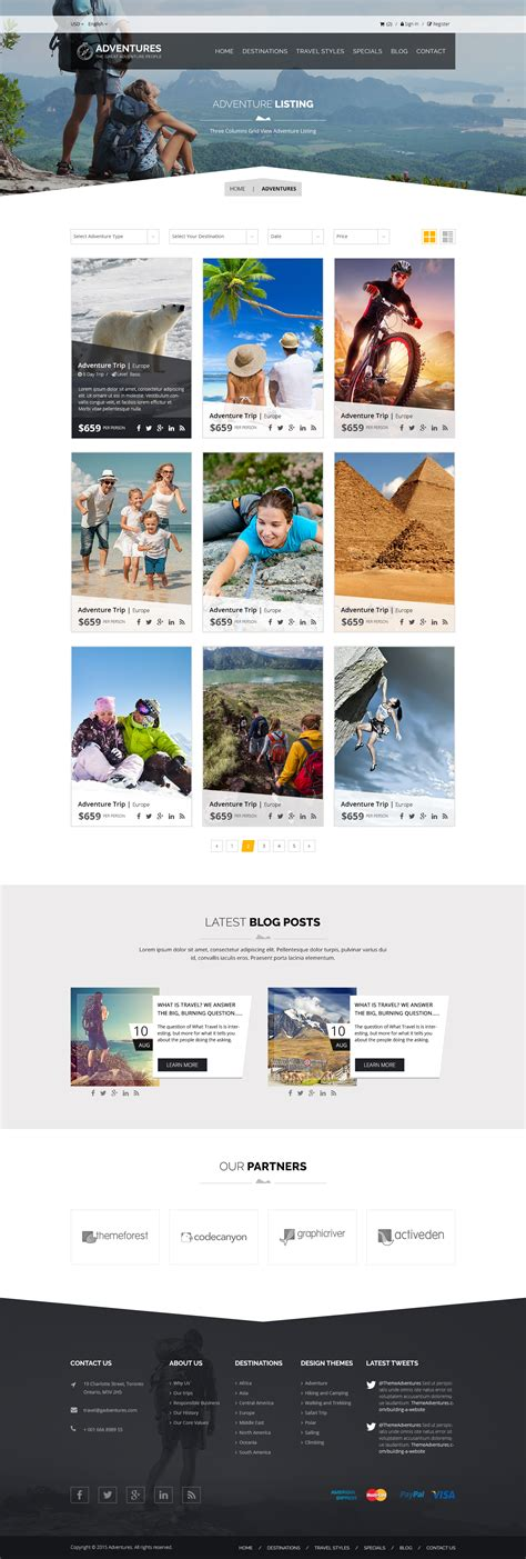 Adventures Adventures And Tour Psd Template By Ewises Themeforest Adventure Website Templates