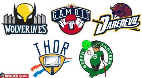 nba logos redesigned as superheroes in honor of batman v
