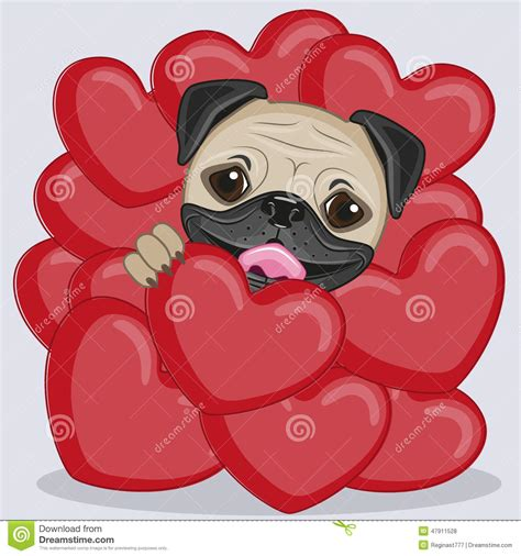 pug hearts pug in hearts stock vector image 47911528