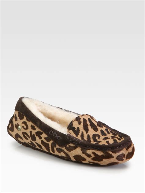 leopard print slippers ugg ansley leopardprint slippers in animal cheetah lyst