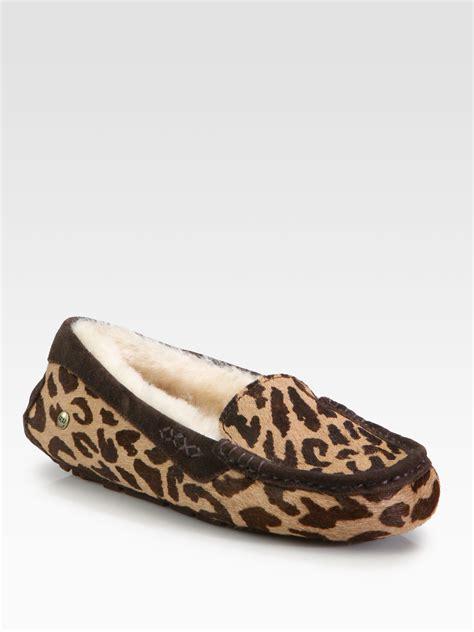 cheetah print slippers ugg ansley leopardprint slippers in animal cheetah lyst