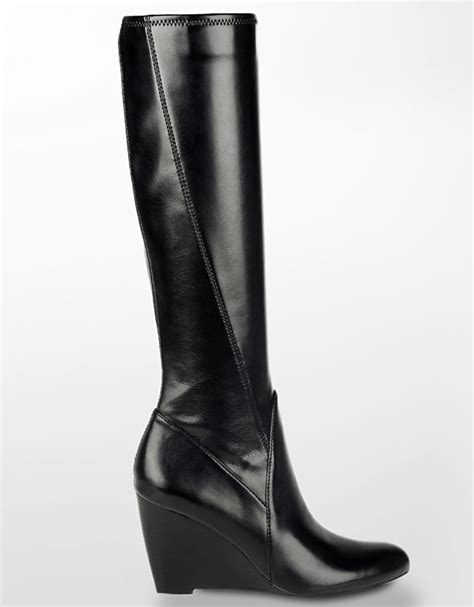franco sarto vent leather wedge boots in black lyst