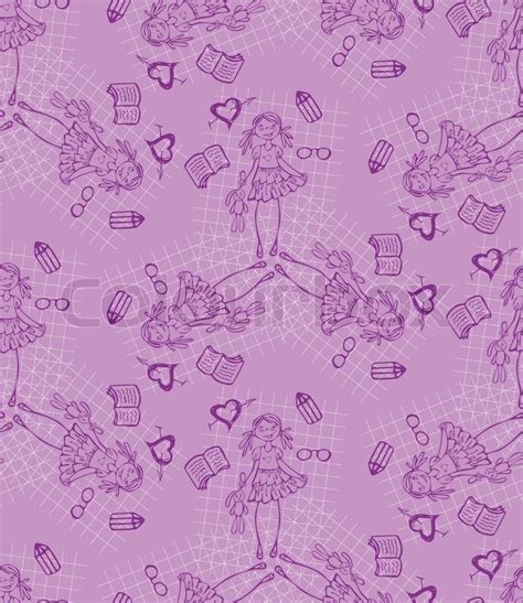 baby girl purple vector seamless pattern glamour