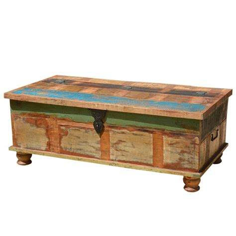 Rustic Coffee Table With Storage Grinnell Rustic Reclaimed Wood Coffee Table Storage Trunk