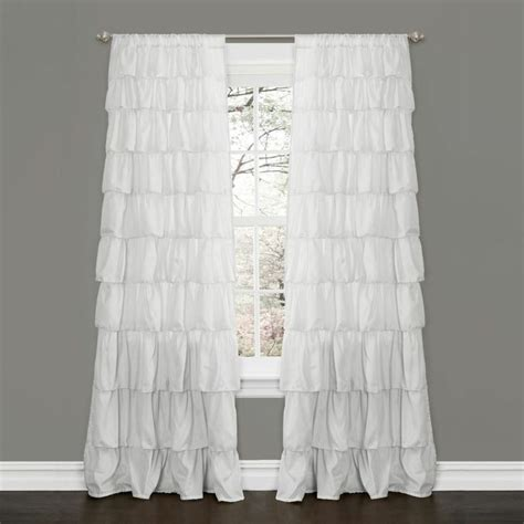 White 100 Polyester Large Waterfall Ruffle Blackout Curtain White Ruffled Curtains For Nursery