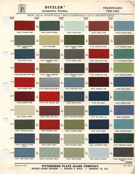 vw original paint color chart cars i paint colours volkswagen and paint colors