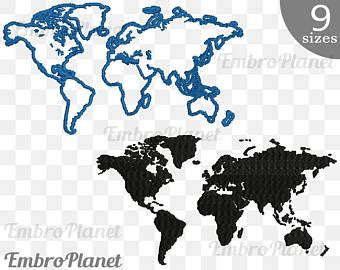 embroidery design world map anchors designs for embroidery machine instant download