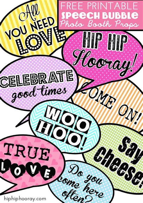 photo booth props printable sayings free printable speech bubble photo booth props hip hip