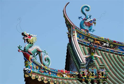 picture dragon china roof blue sky colorful art