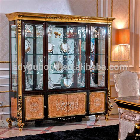 luxurious wooden carving showcase cabinet using clear 0061high quality luxury wooden carvde living room glass