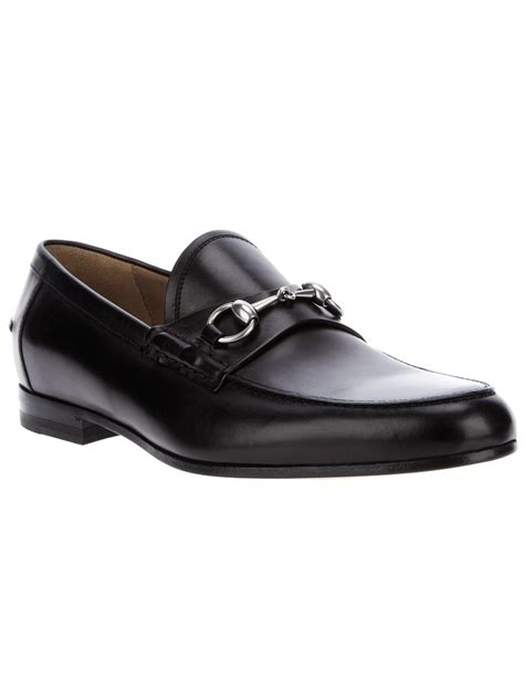 black gucci loafers gucci horsebit loafer in black for lyst