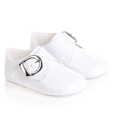 early days baypods baby boys white patent pre walker