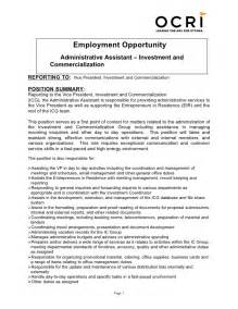 icg administrative assistant description