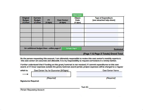 10 Grant Budget Sles Sle Templates Simple Grant Template