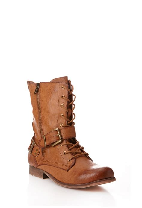 forever boots forever 21 runaround combat boots in brown lyst