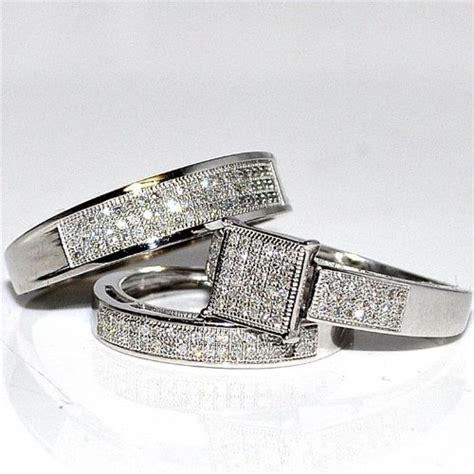 his her wedding rings set trio men women 10k white gold